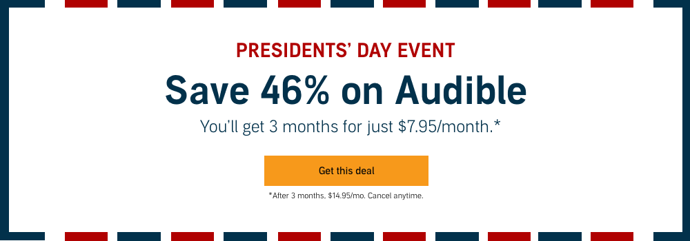 Audible com - 46% off membership - 3 months for $7 95/mo