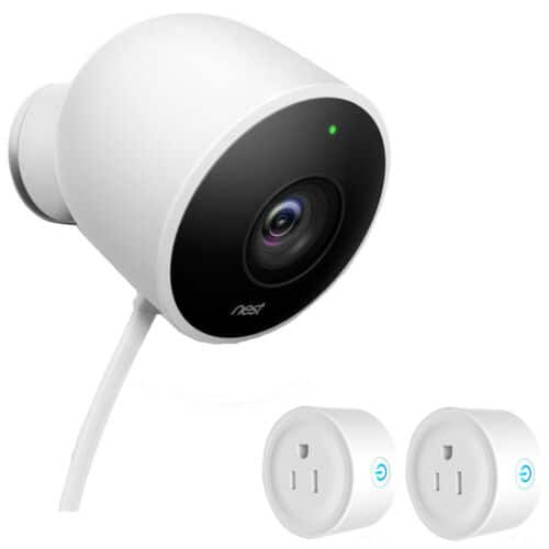 Google Nest Outdoor Security Camera, White w/ 2 Pack Wifi Smart Plug $135.20 ($128 with Discover); with Google Home mini for $159.20