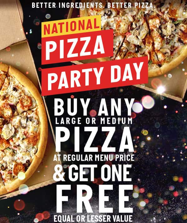 Papa Johns Pizza BOGO on any Med or Large Pie using Promo Code BOGOPARTY good through 5/19/19
