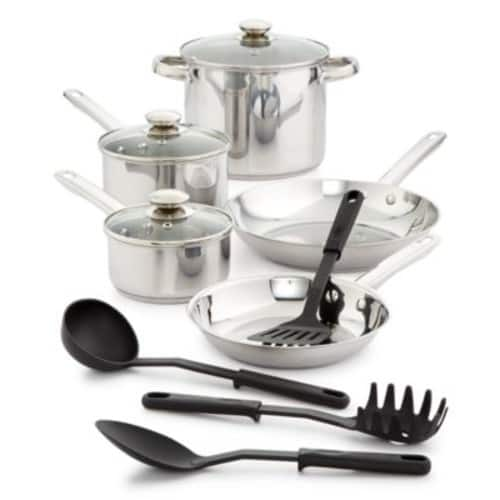 Bella 12-Pc. Stainless Steel Cookware Set $29.96