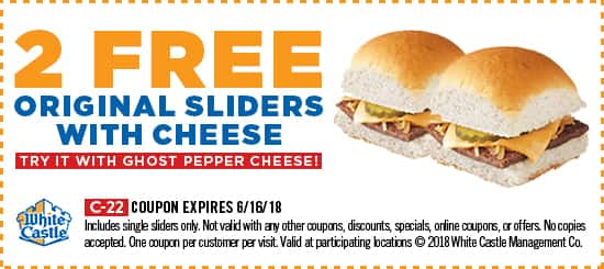 Two free White Castle sliders with cheese Exp 6/16