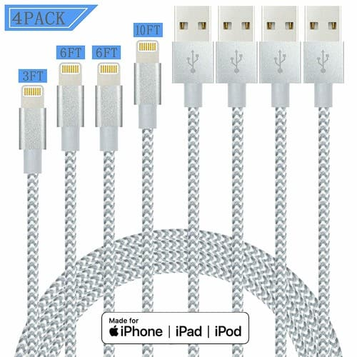 IDiSON 4Pack(10ft 6ft 6ft 3ft) iPhone Lightning Cable Apple MFi Certified Braided Nylon Fast Charger Cable iPhone Max XS XR 8 Plus 7 Plus 6s 5s 5c Air iPad Mini iPod $7.49