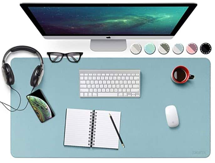 Dual Sided Waterproof Office Desk Pad, Sewing PU Leather Desk Blotter Protector, Desk Writing Mat Mouse Pad $12.74