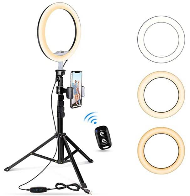 """10.2"""" Selfie Ring Light with Tripod Stand & Cell Phone Holder, Mini Led Camera Ringlight for Video/Photography, Compatible with iPhone & Android $25.89"""