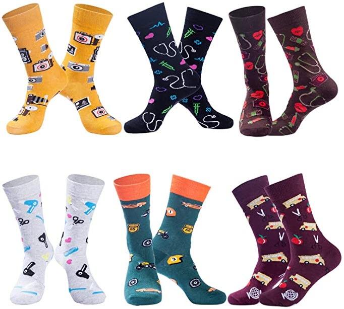 Christmas Socks for Men & Women Colorful Novelty Patterned Socks 6 Pairs US 7-13 $4.99
