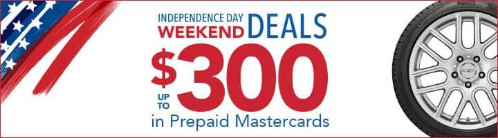 Discount Tire - Discount Tire Direct - Online and In-Store - Independence Day Weekend - Up to $400 MC Rebate