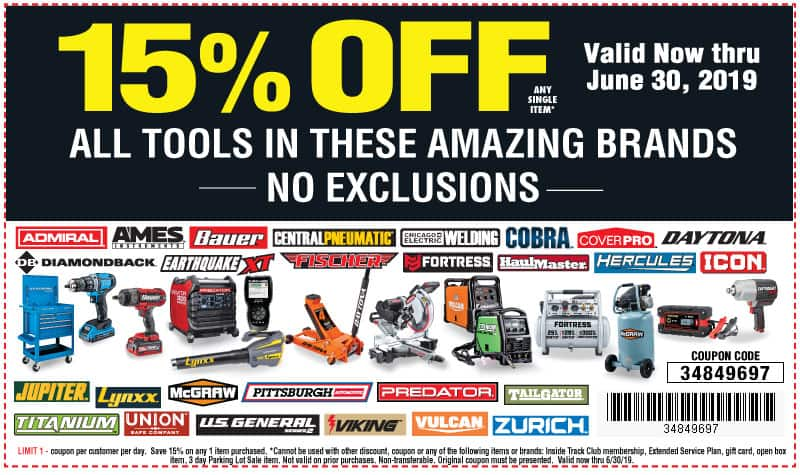 Harbor freight 15% off any single item NO EXCLUSIONS- expires today