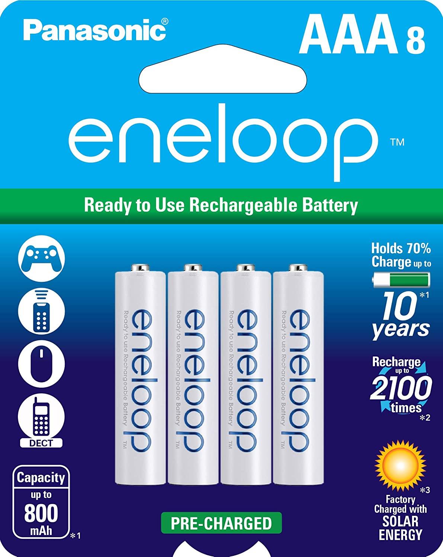 8-Pk Panasonic BK-4MCCA8BA eneloop AAA 2100 Cycle Ni-MH Rechargeable Batteries $15.89