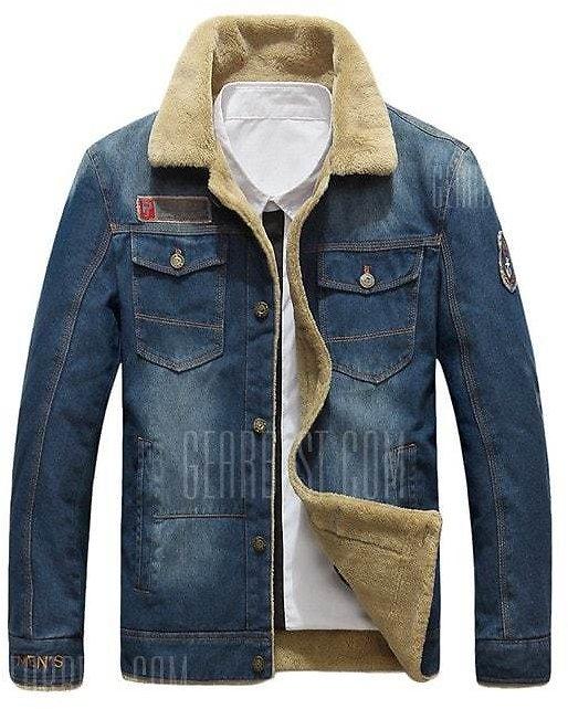 NIANJEEP 99891 Stylish Denim Winter Jacket  -  4XL  DENIM BLUE $43.05