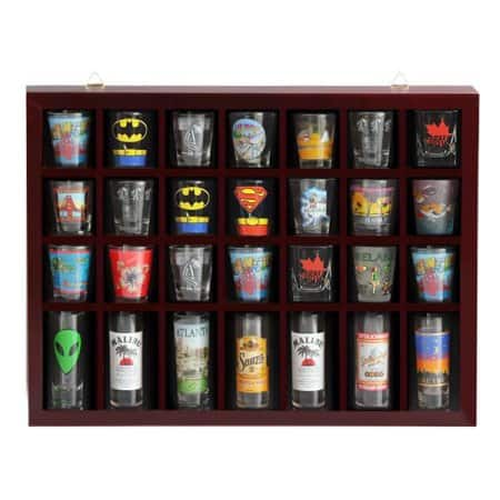 28 Shot Glass Display Case Holder Cabinet Wall Rack,Mahogany $21.99