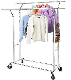 Hokeeper Commercial Grade Rolloing Clothing Garment Rack Double Single Rail $72.99
