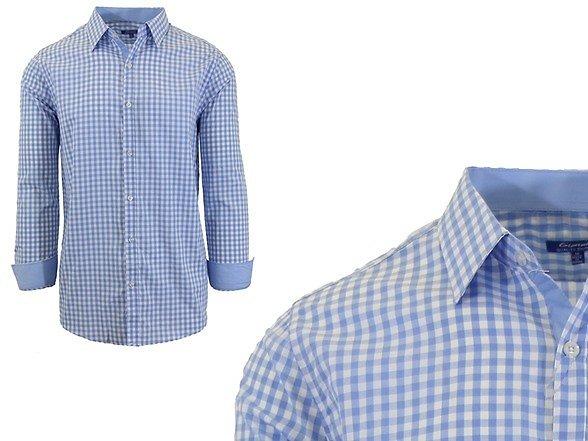 Cotton Mens Gingham Dress Shirt