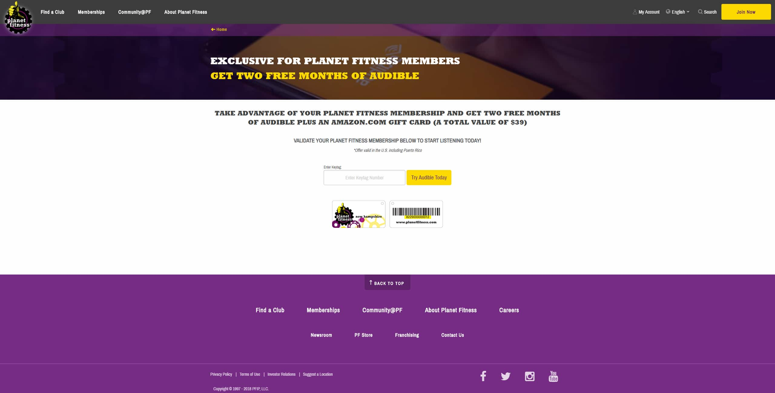 Planet Fitness members get free 10$ Amazon Gift Card plus 2 Month Audible