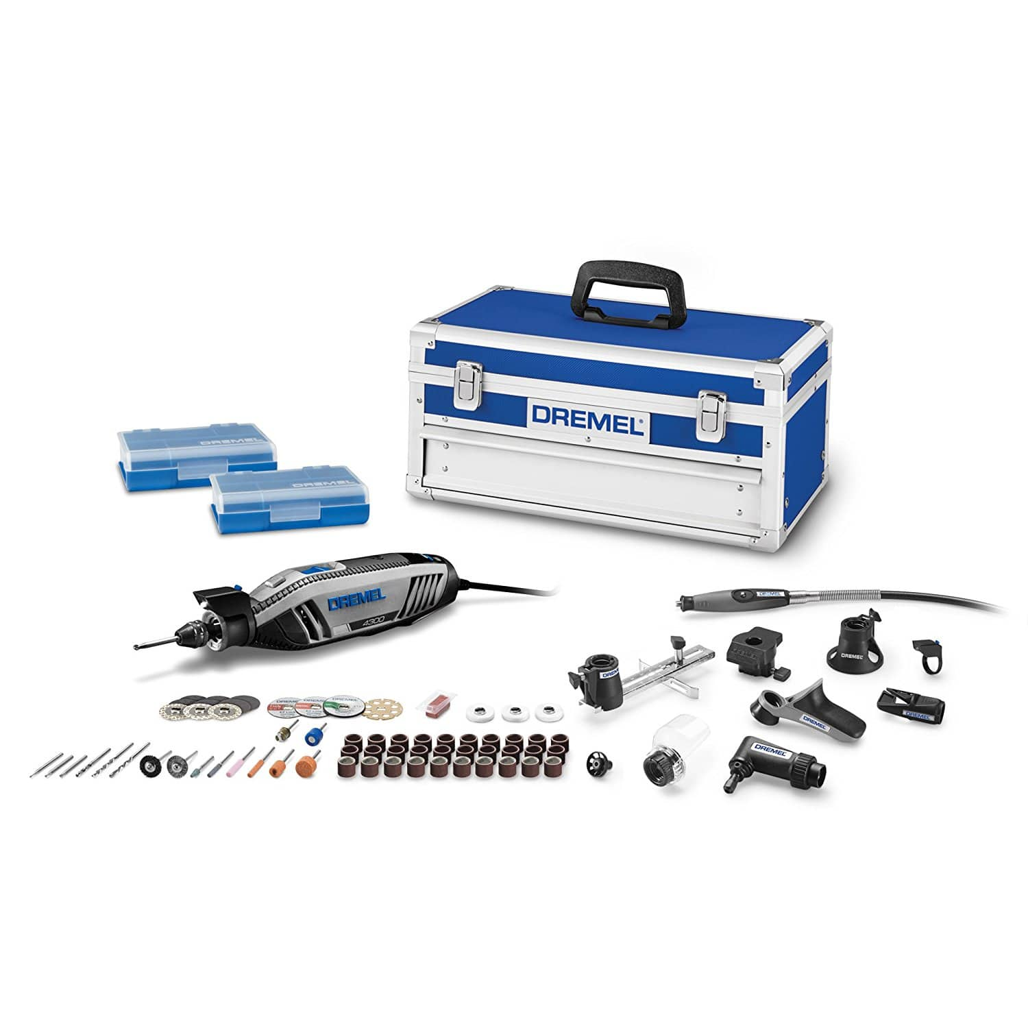 Dremel 4300-9/64 High Performance Rotary Tool Kit with Universal 3-Jaw Chuck, 9 Attachments and 64 Accessories - $99