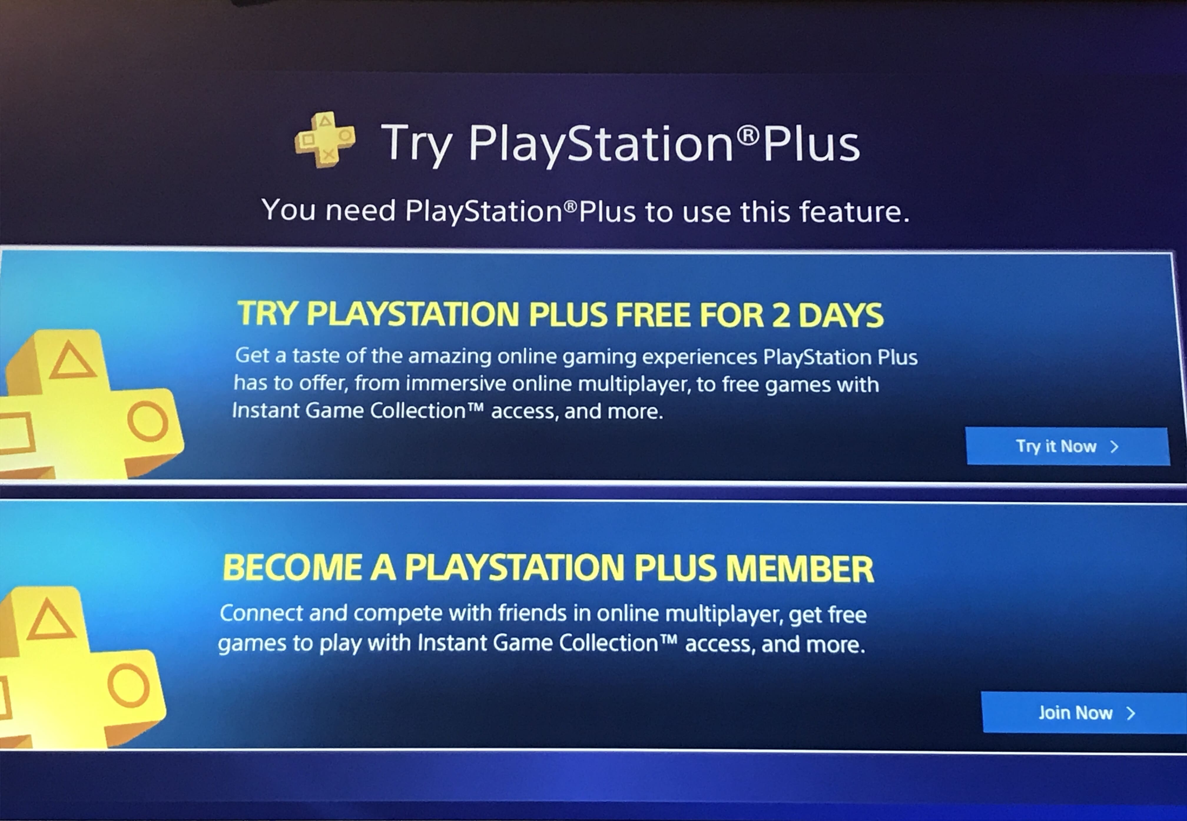 Playstation Plus two day trial for sales and adding the free