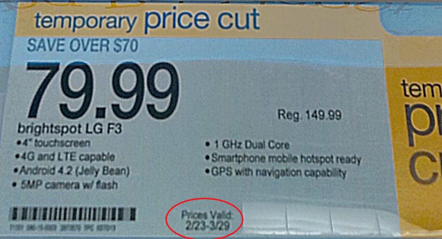 $79.99 prepaid LG Optimus F3 @ Target B&M  til 03/29/2014 Limited Quantity