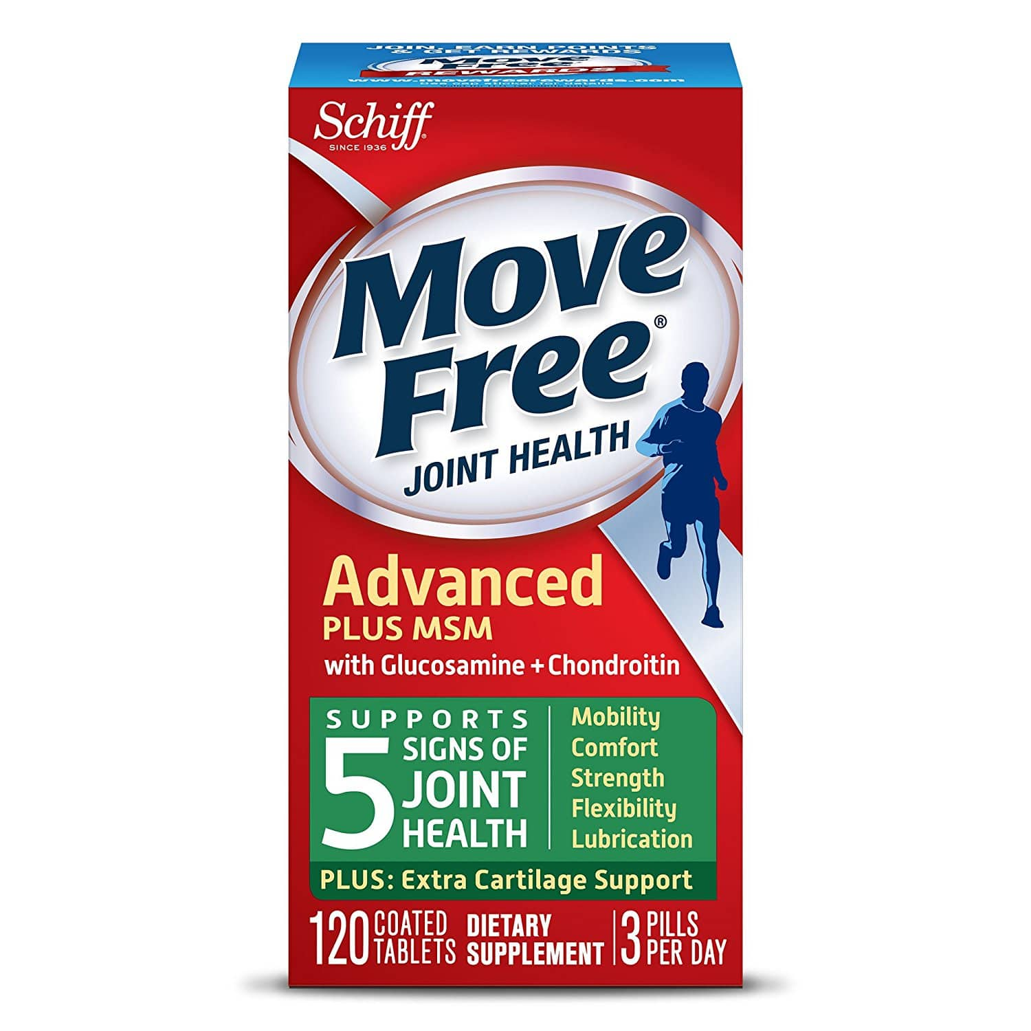 Move Free Advanced Plus MSM, 120 tablets - Joint Health Supplement with Glucosamine and Chondroitin [120 Count] $12.63