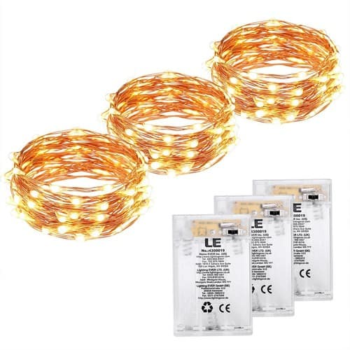LE 3 Pack 60 LEDs Copper Wire LED String Lights Warm White Waterproof Battery Powered Fairy Starry Lights for Garden Patio Party Valentine's Day Wedding Christmas Tree $9.99