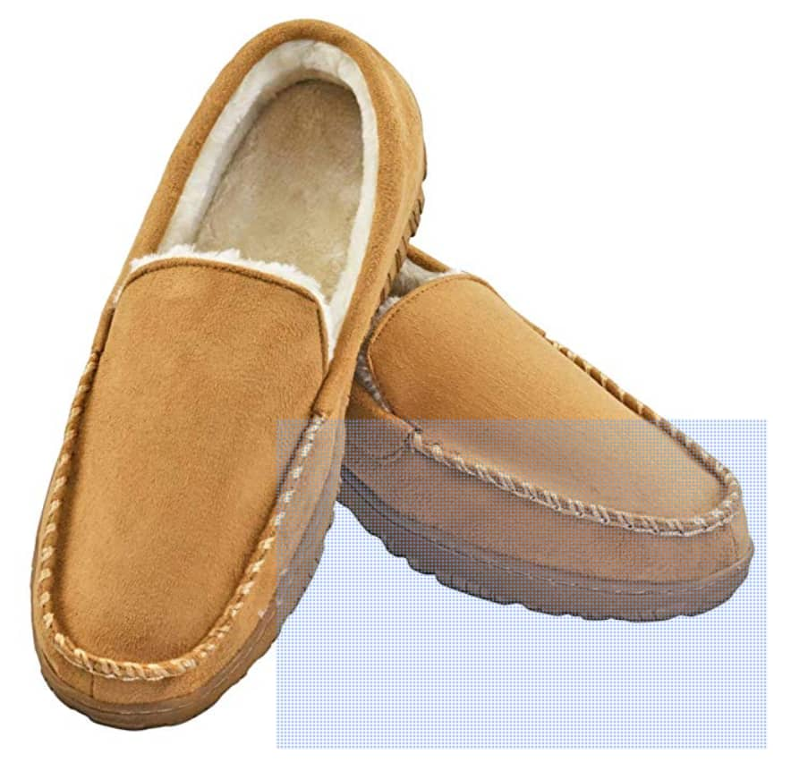 Slippers for Men: Indoor and Outdoor Slip On Moccasin Slippers with Anti-Slip Memory Foam - $11.90 AC FS w/ Prime