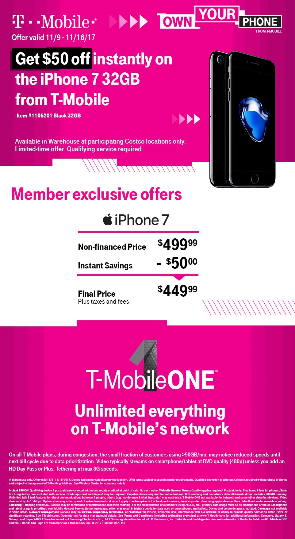 T-Mobile iPhone 7 32GB (Matte Black) @ Costco $449