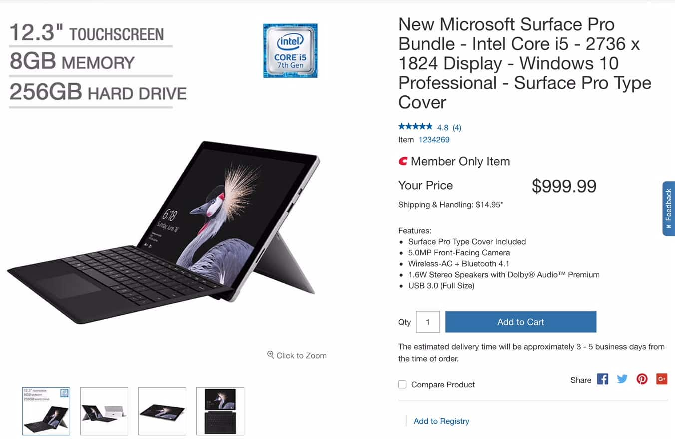2017 Surface Pro i5 256GB SSD with Type Cover $999.99
