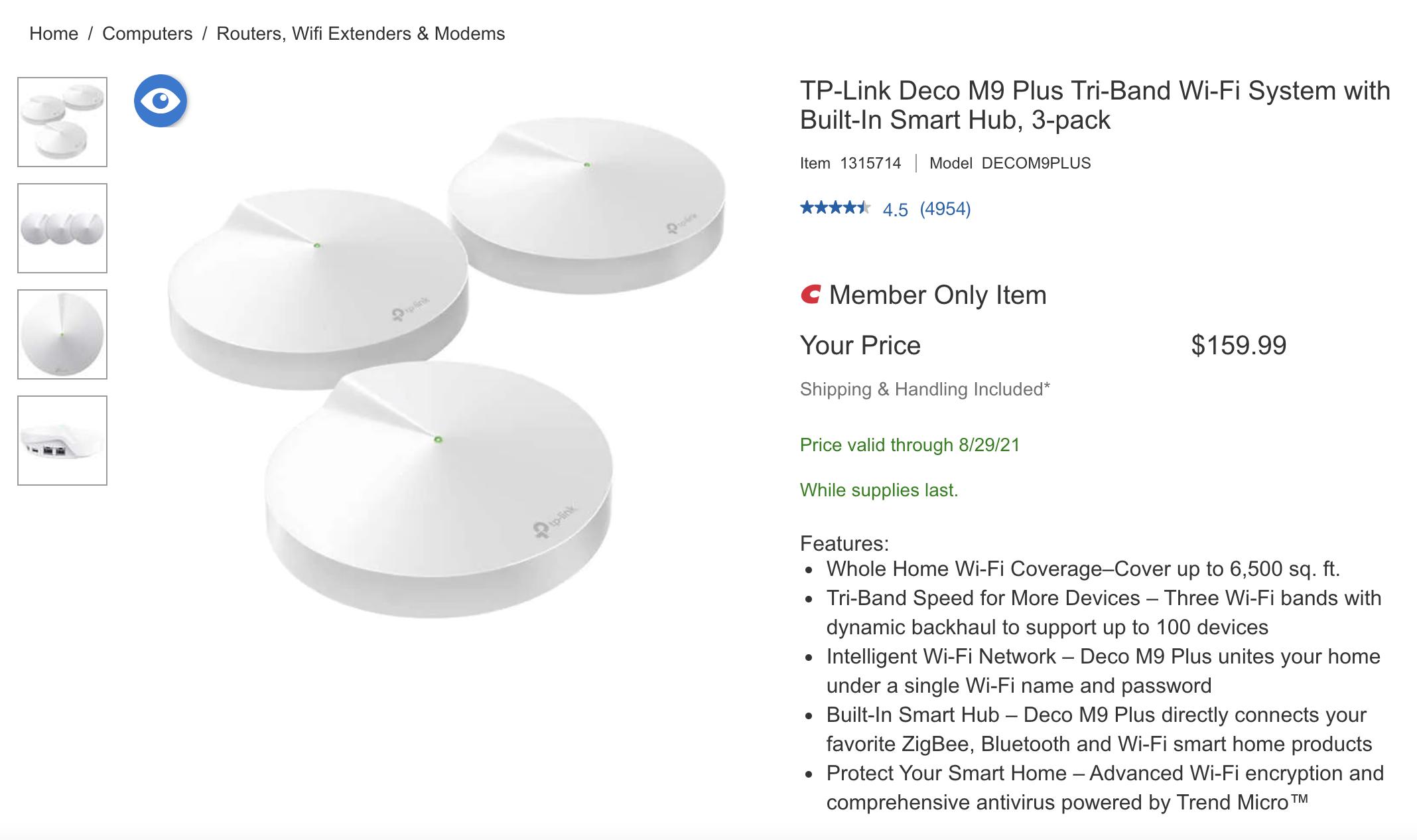TP-Link Deco M9 (3 pack) $159.99