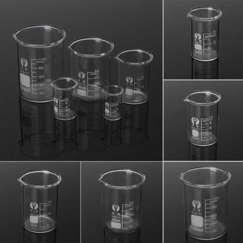 1Set Low Form Glass Beaker 5 10 25 50 100ml Borosilicate Measuring Lab Glassware $4.69 + fs