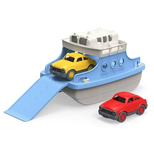 Green Toys Ferry Boat with Mini Cars Bathtub Toy, Blue/White $16.68