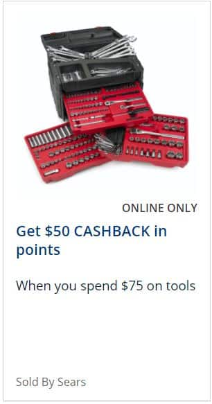 Sears Online Only $50 back in points w/ $75 or more on tools