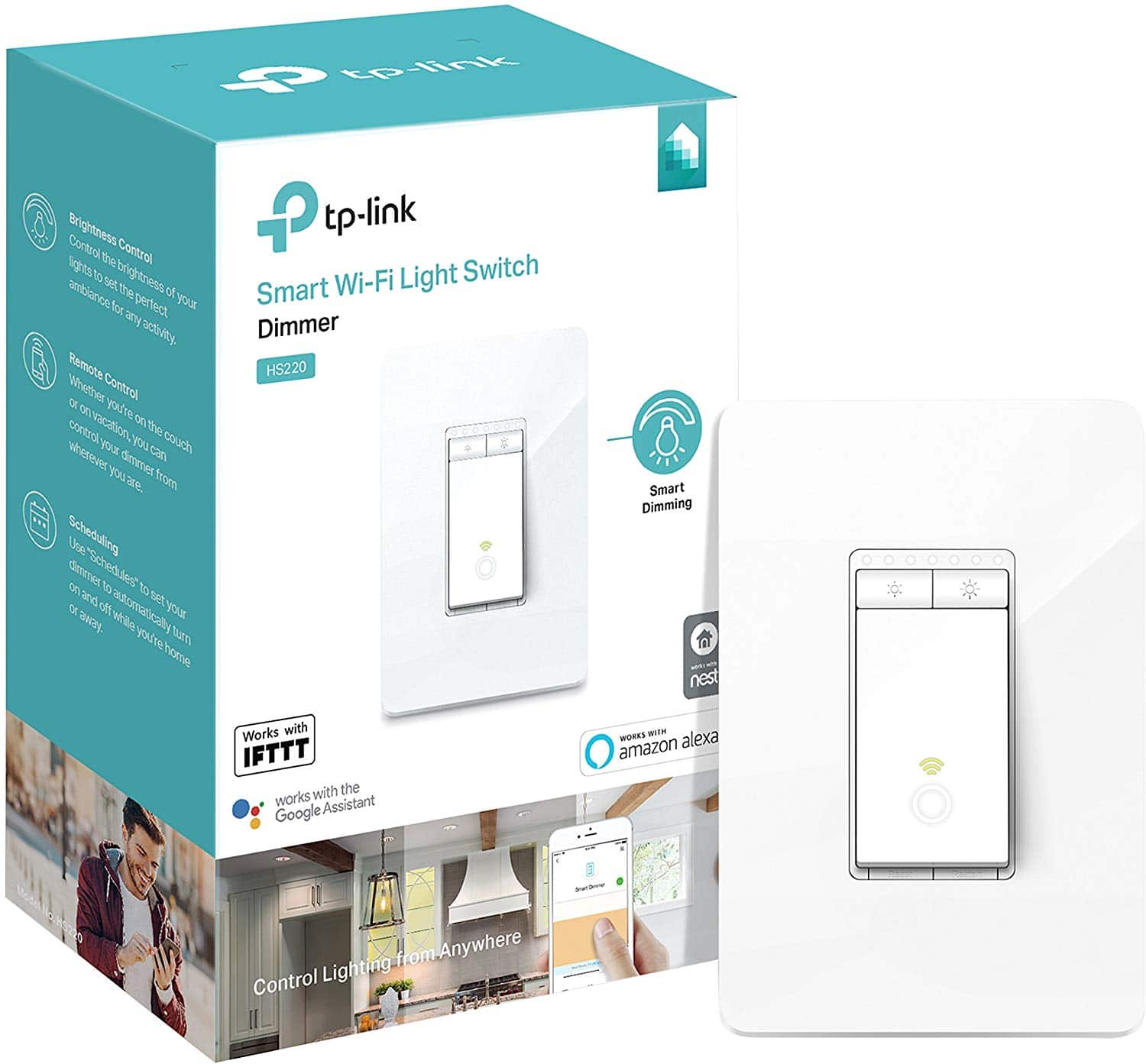 Kasa Smart WiFi Light Switch Dimmer (HS220) - $30 - Works with Alexa and Google