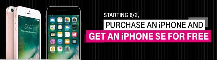T-Mobile - Purchase a new iPhone get an iPhone SE (16GB or 32GB) for free. BOGO