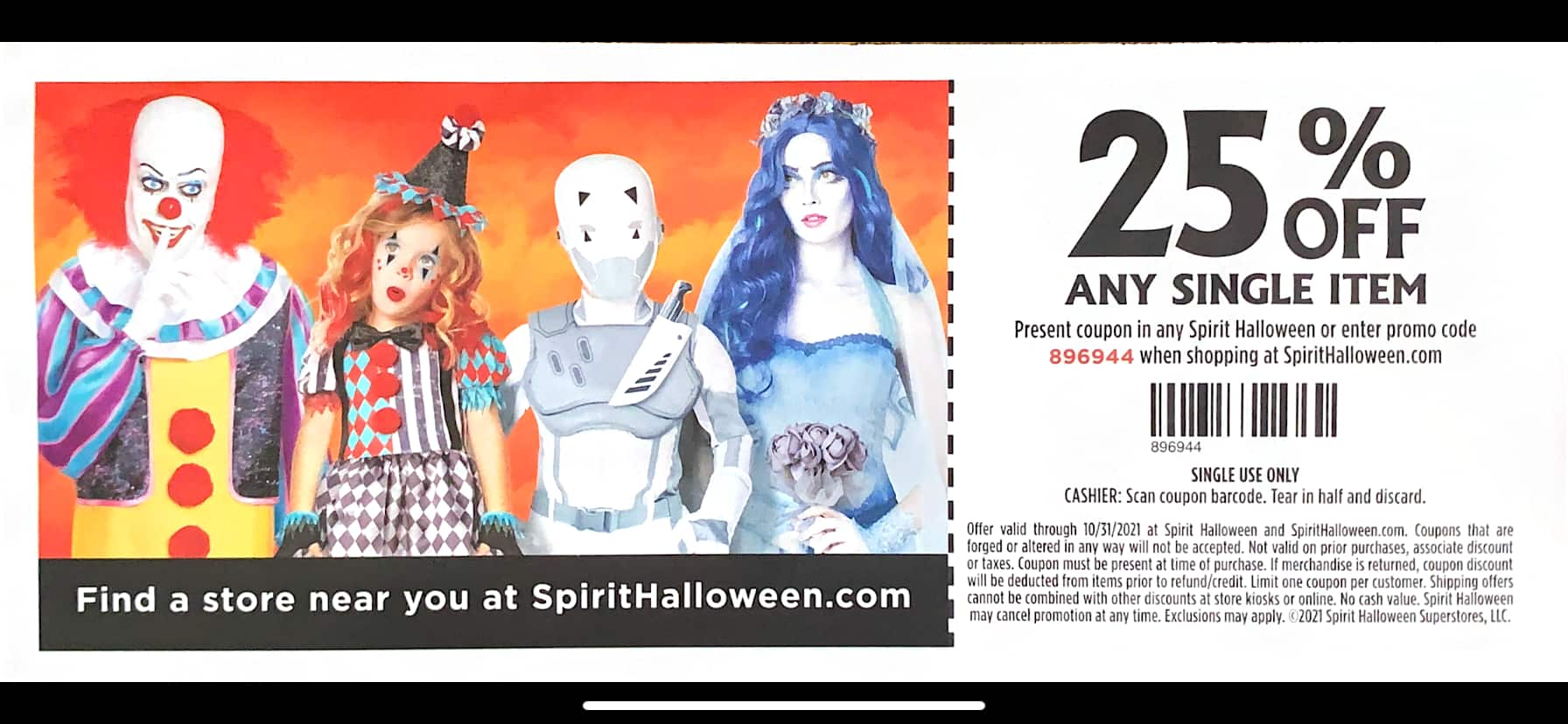 20-25% off - Spirit Halloween in-store or Online Coupon (Exp. 10/31/21)