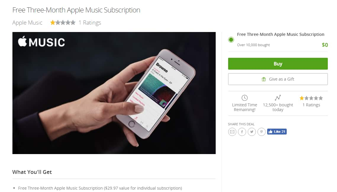 FREE 3-Month Apple Music Subscription (New Members Only)
