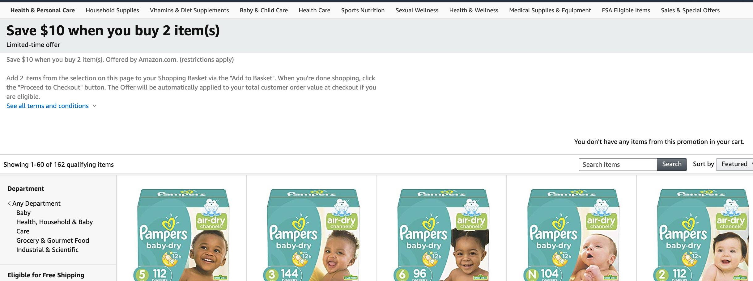 diapers / pull-ups Save $10 when you buy 2 item(s) and additional 20% discount with Prime