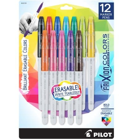 12-pk Pilot FriXion Erasable Marker Bold Point Pens (Assorted Colors): $9.88 @ Amazon/Walmart