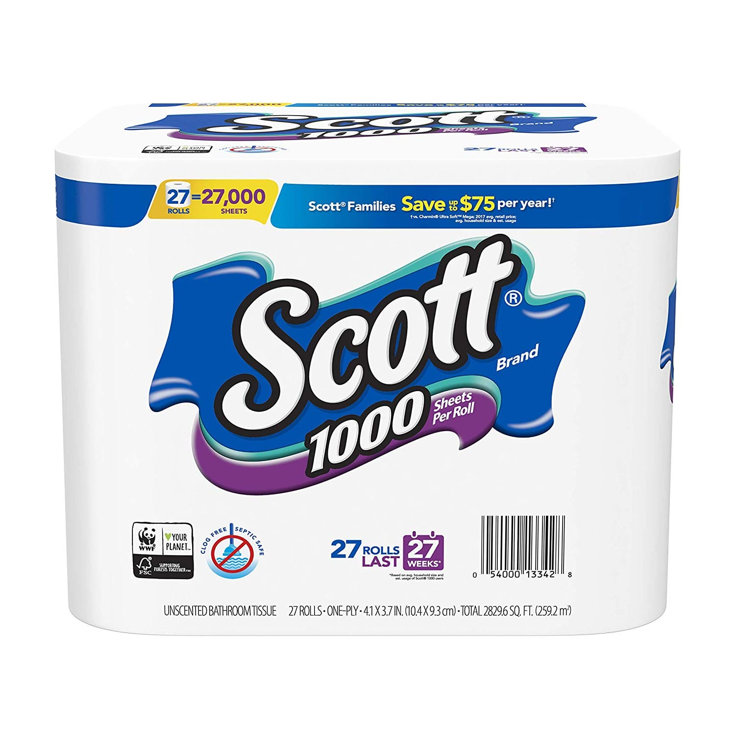 27-Count Scott 1000-Sheet One Ply Toilet Paper Rolls 3 for $36.25 w/ S&S + Free S/H