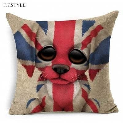 T.T.STYLE Dog with Flag Colored Drawing Pillow Cover $3.06
