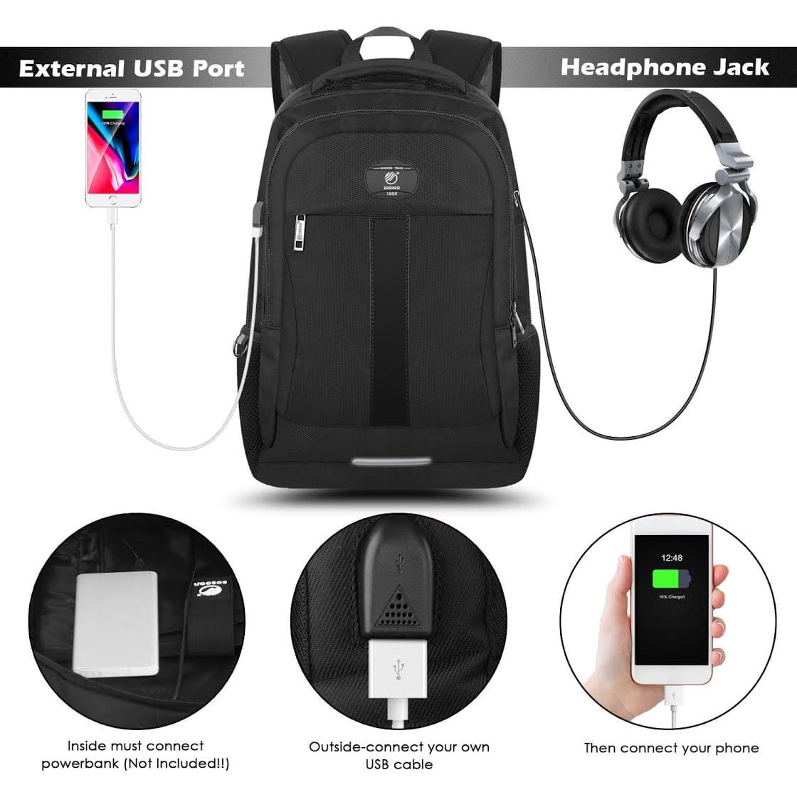 875943d6fedb 15.6-Inch Laptop Backpack, Business Bags with USB Charging Port Anti ...