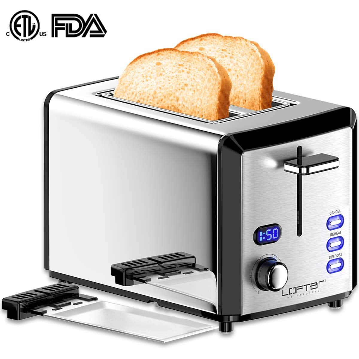 2 Slice Toaster, Mirror Stainless Steel Toaster Extra Wide Slots Toasters with 6 Shade Settings, Compact LED Display $24.99