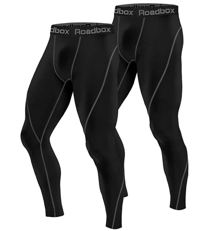 Roadbox Men's Compression Pants 2 Pack, Workout Warm Dry Cool Sports Leggings Tights Baselayer $13.99