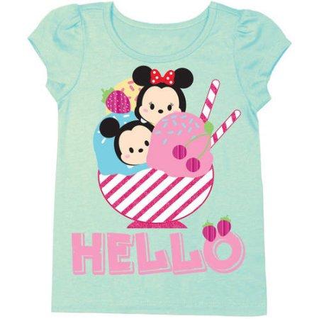 "Tsum Tsum Toddler Girl Ice Cream Sundae ""Hello"" Short Puff Sleeve Foil Graphic T-Shirt $2+ free store pickup"