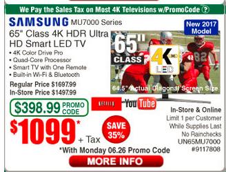"Samsung Class 65"" ; MU7000 Series 4K UHD TV $1,099.00 w/ emailed code (06/26)"