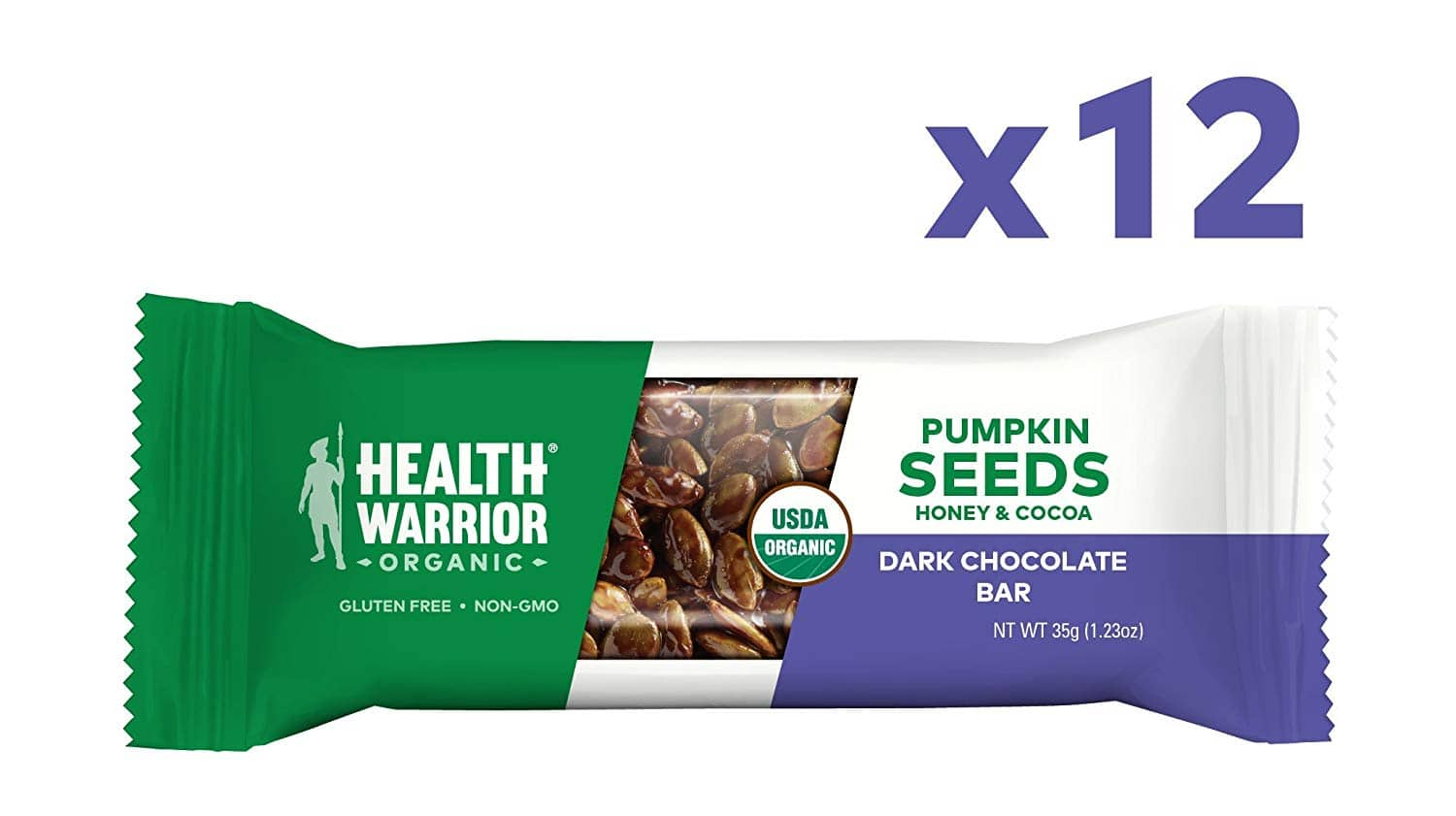 Health Warrior Pumpkin Seed Protein Bars, Dark Chocolate, 8g Plant Protein, Gluten Free, Certified Organic, 12 Count by Health Warrior $6.74 with $3 coupon for S&S $9.74