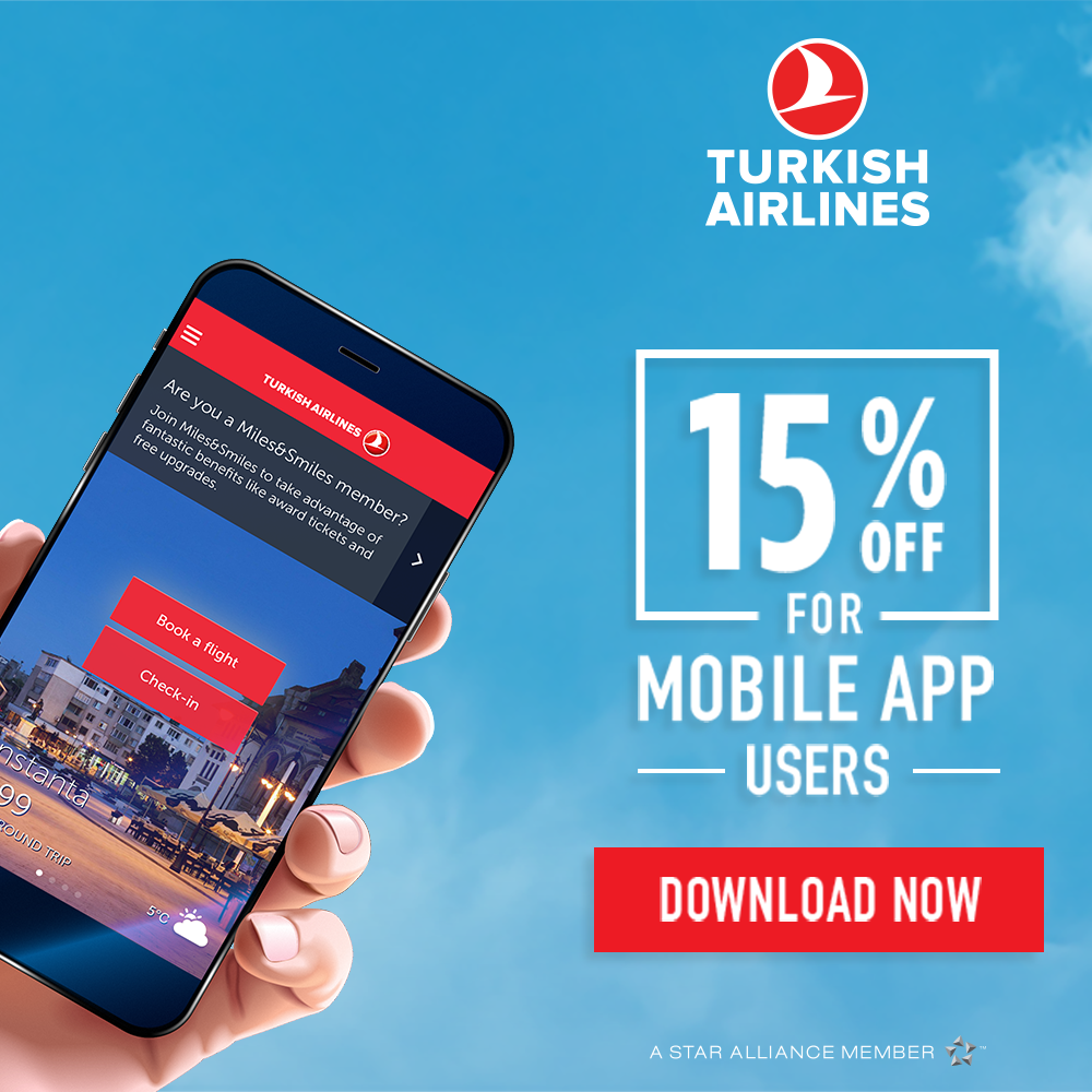 #Airfare %15 Discount on Turkish Airlines MOBILE APP, GLOBALLY, NO RESTRICTIONS $0.44