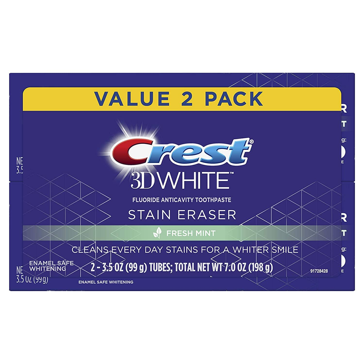 2-Pack 3.5oz Crest 3D White Stain Eraser Whitening Toothpaste (Fresh Mint) $3.50 w/ S&S + Free Shipping w/ Prime or on orders $25+