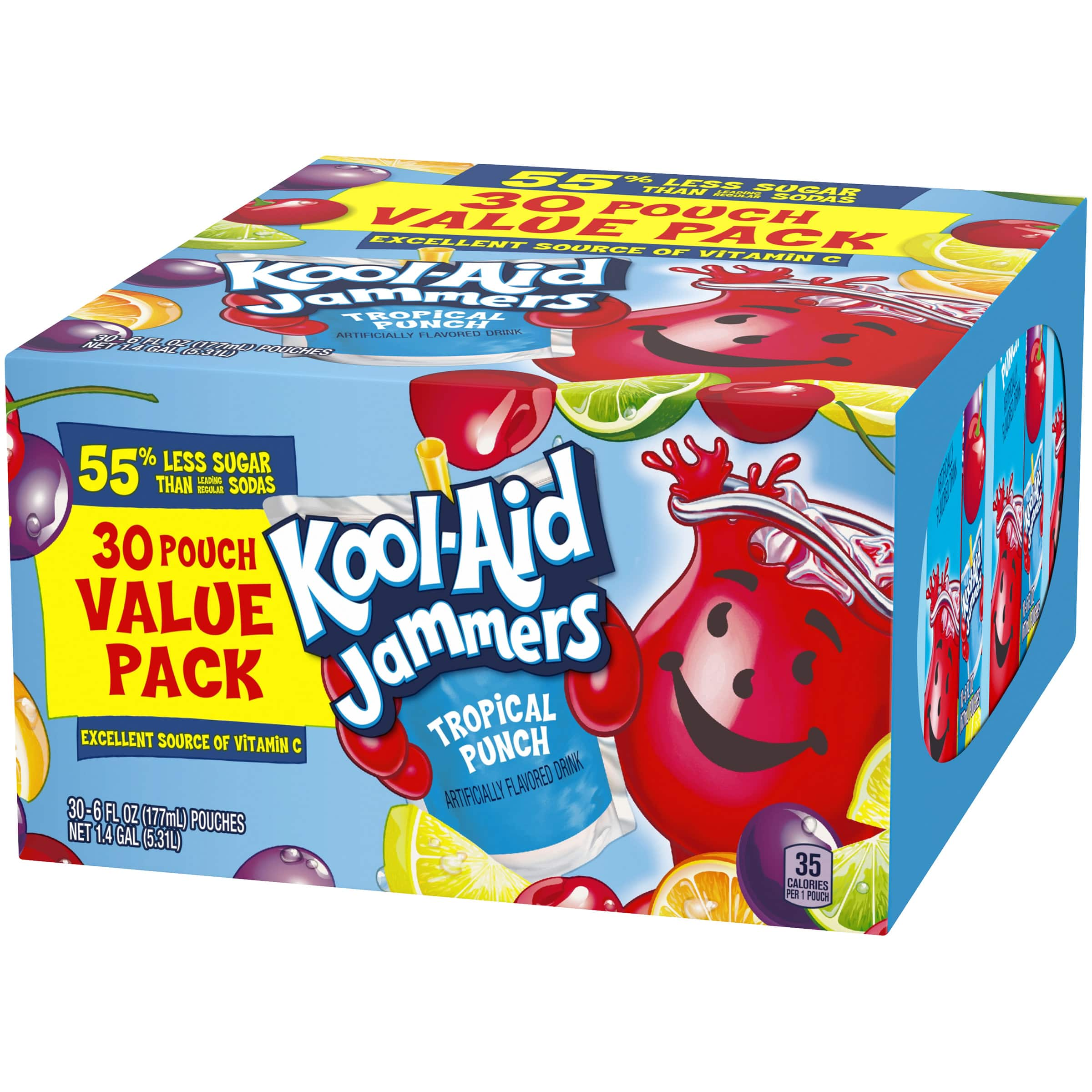 3-Pack 90-Pouches 6-Oz Kool-Aid Jammers Tropical Punch Soft Drink $5 + Free Shipping w/ Walmart+ or Orders $35+
