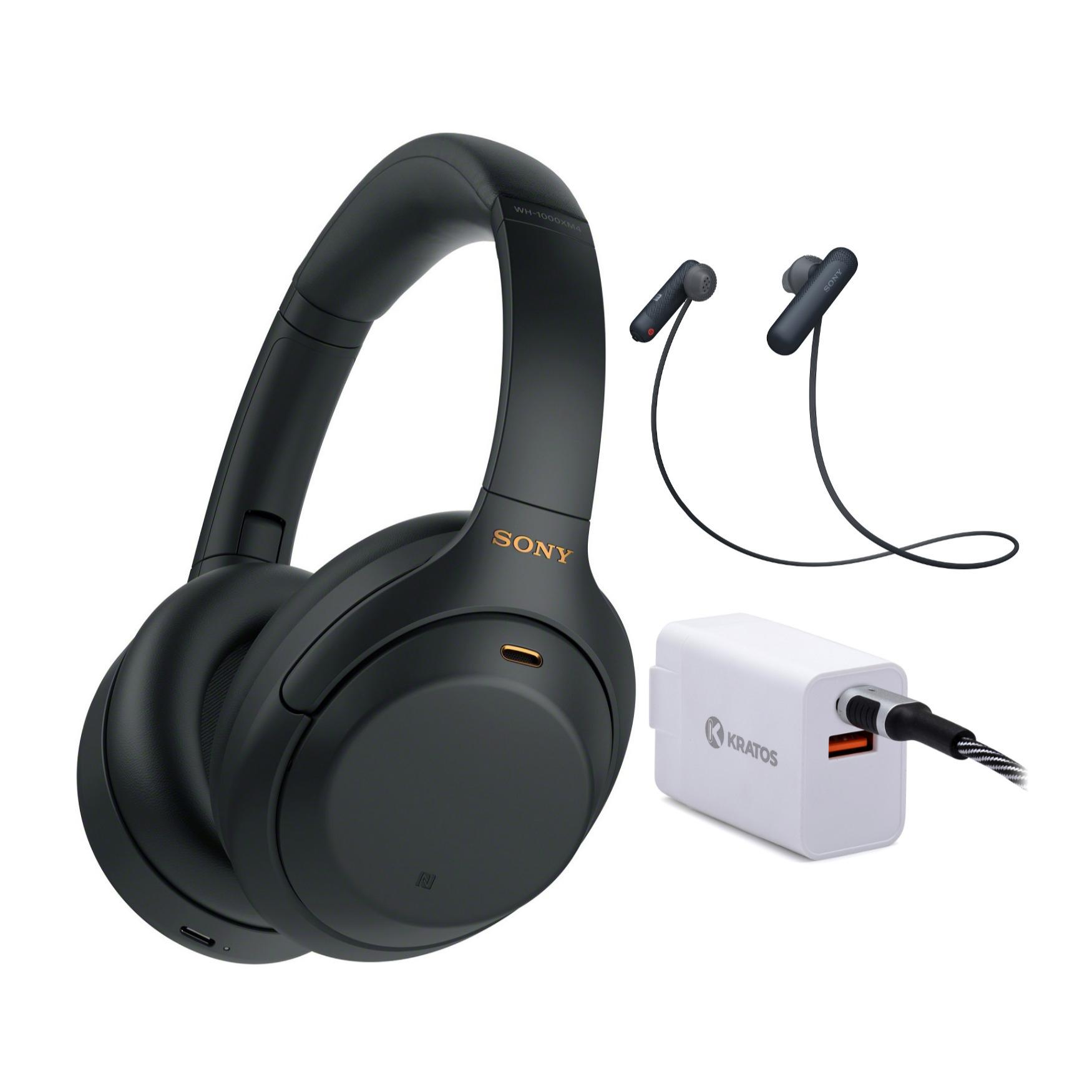 Sony WH-1000XM4 Wireless Noise Canceling Over-Ear Headphones (Black) + Sony WI-SP500 In-Ear Sports Wireless Headphones + 30W PD 2-Port Power Adapter $248 + Free Shipping $243