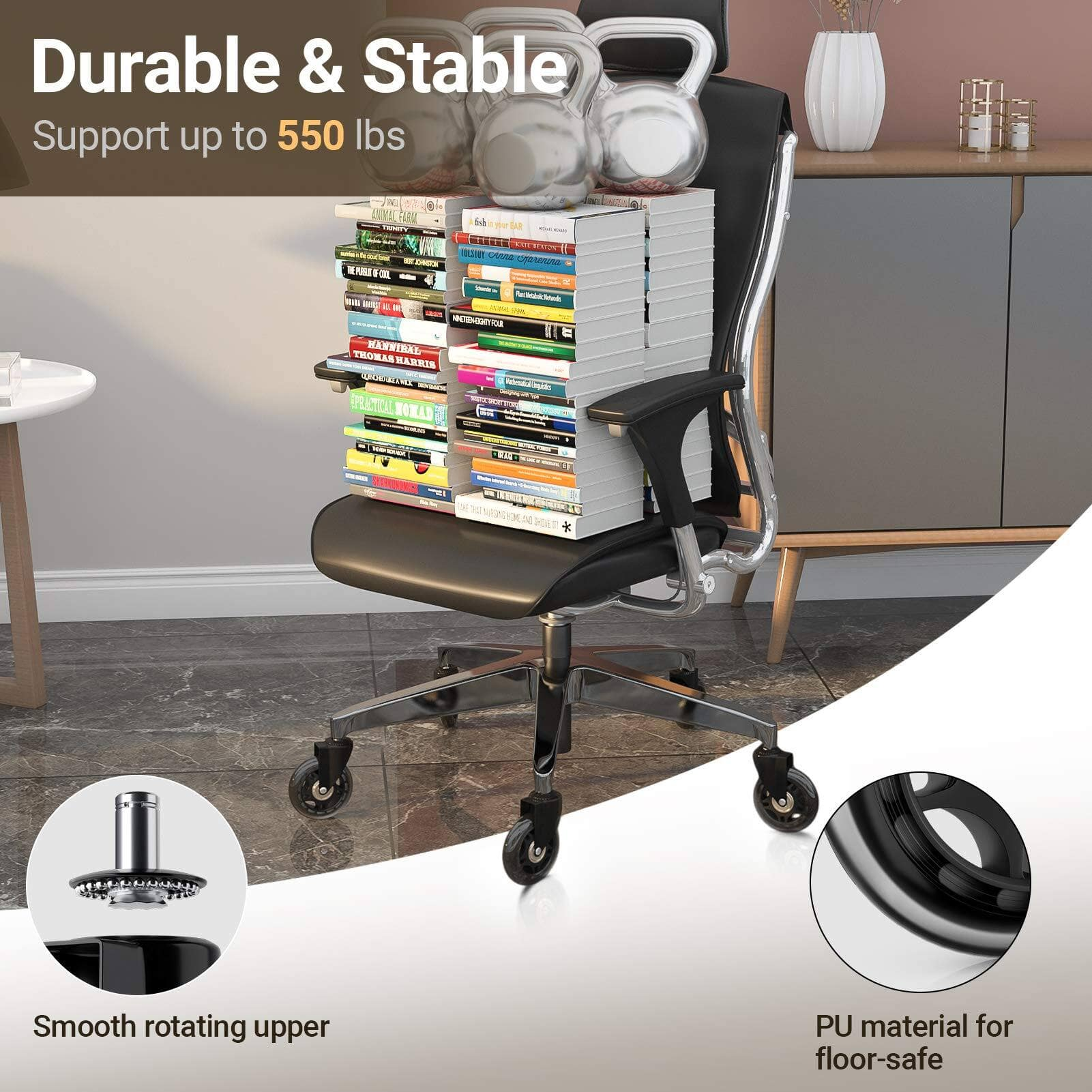 Office Chair Caster Wheels Set with 5 Chair Wheels $9.99 + Free Shipping w/ Prime
