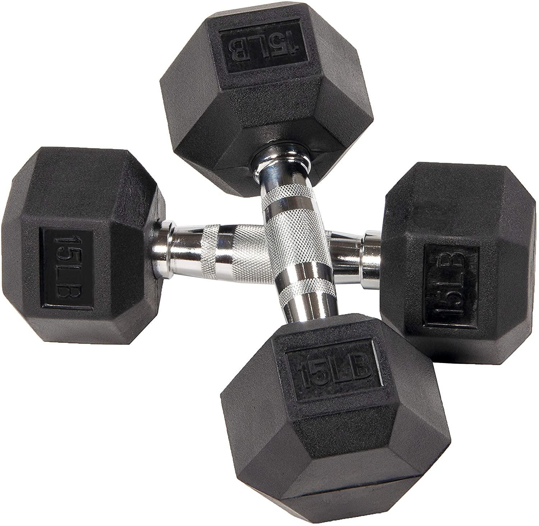 15 lb Sporzon! Rubber Encased Hex Dumbbell (Pair) $35 + Free Shipping