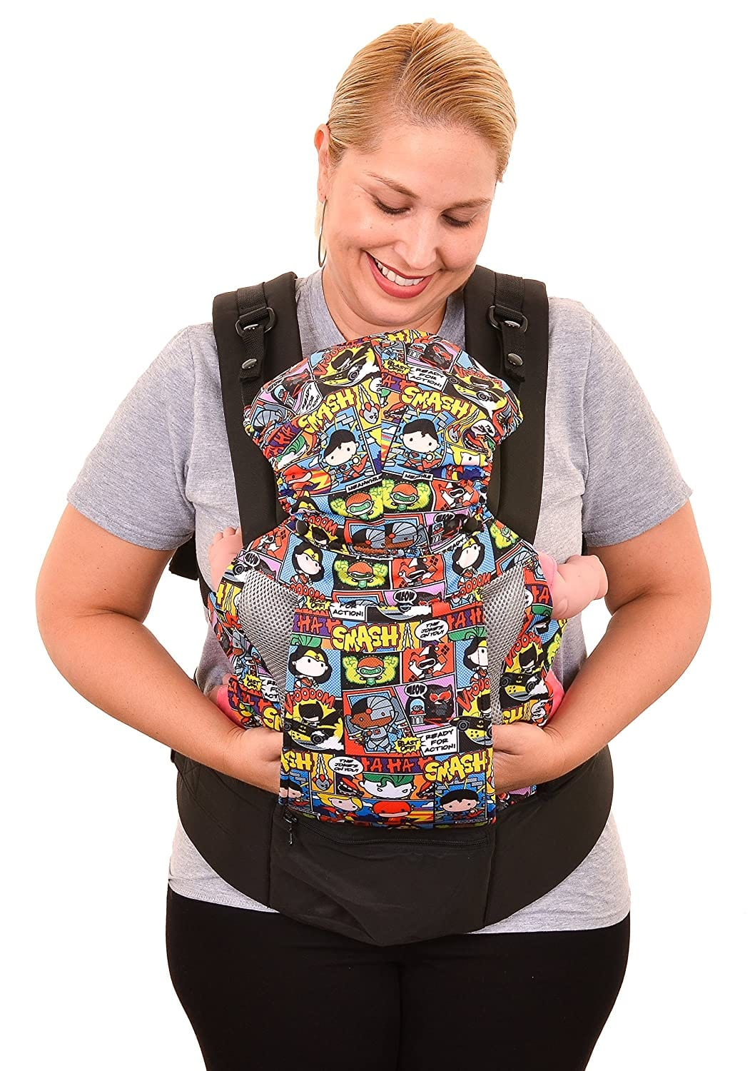 KidsEmbrace Justice League Baby Carrier w/ Hood (Chibi) $19.80  + Free Shipping w/ Prime or on $25+